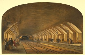 Lithograph of Baker Street Station